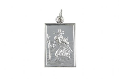 Sterling Silver Rectangular St. Christopher Including Chain BU1278